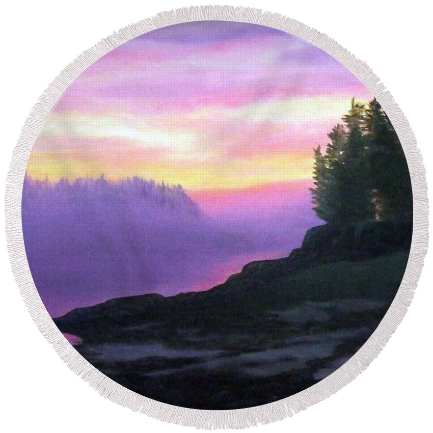Sunset Round Beach Towel featuring the painting Mystical Sunset by Sharon E Allen