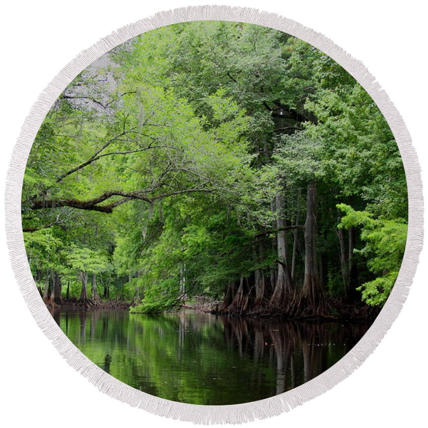 Withlacoochee River Round Beach Towel featuring the photograph Mystical Withlacoochee River by Barbara Bowen