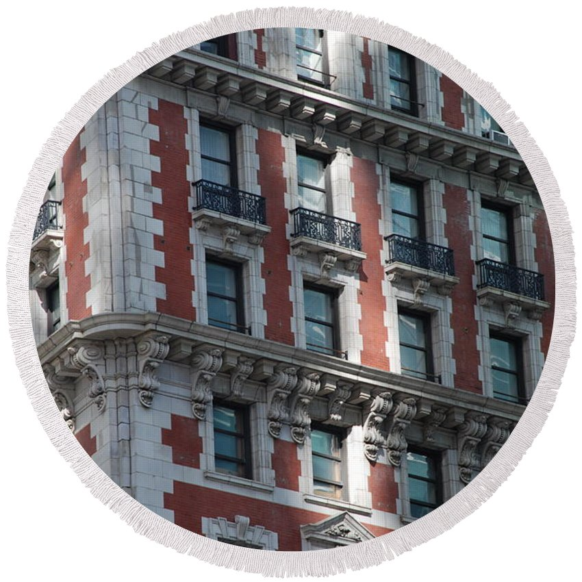 New York City Round Beach Towel featuring the photograph N Y C Architecture by Rob Hans