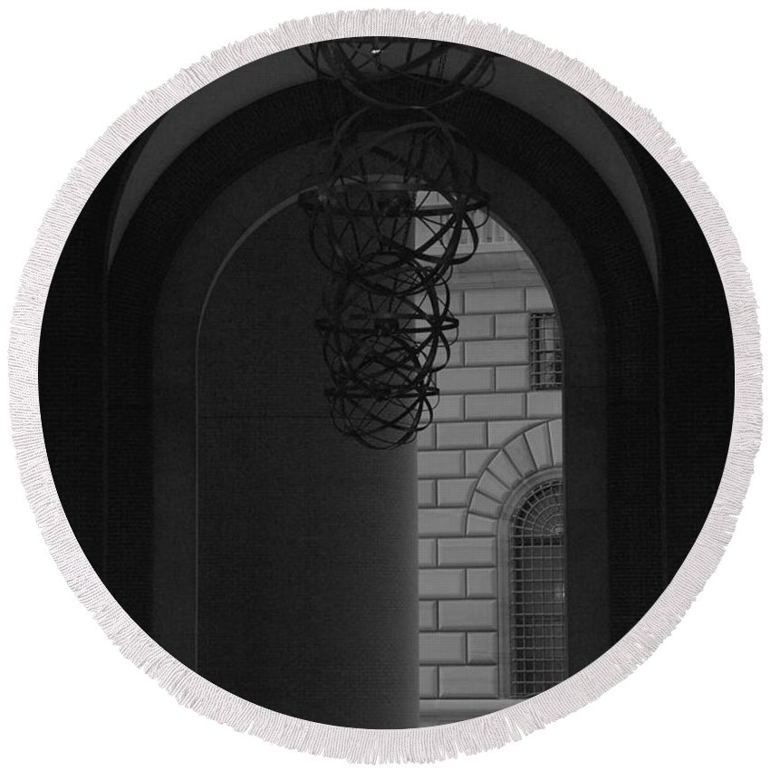 New York City Round Beach Towel featuring the photograph N Y C Lighted Arch by Rob Hans