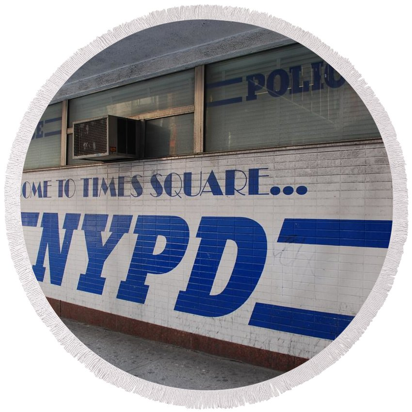 Nypd Round Beach Towel featuring the photograph N Y P D Blue by Rob Hans