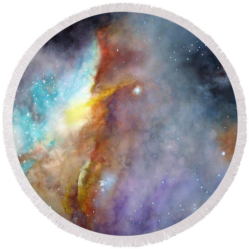 N11b Large Magellanic Cloud Round Beach Towel featuring the painting N11b Large Magellanic Cloud by Allison Ashton