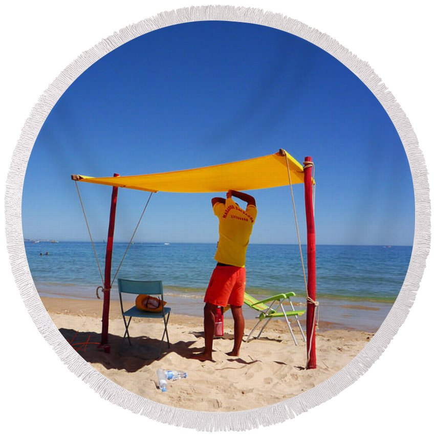 Life Guard Round Beach Towel featuring the photograph Nadador Salvador by Charles Stuart
