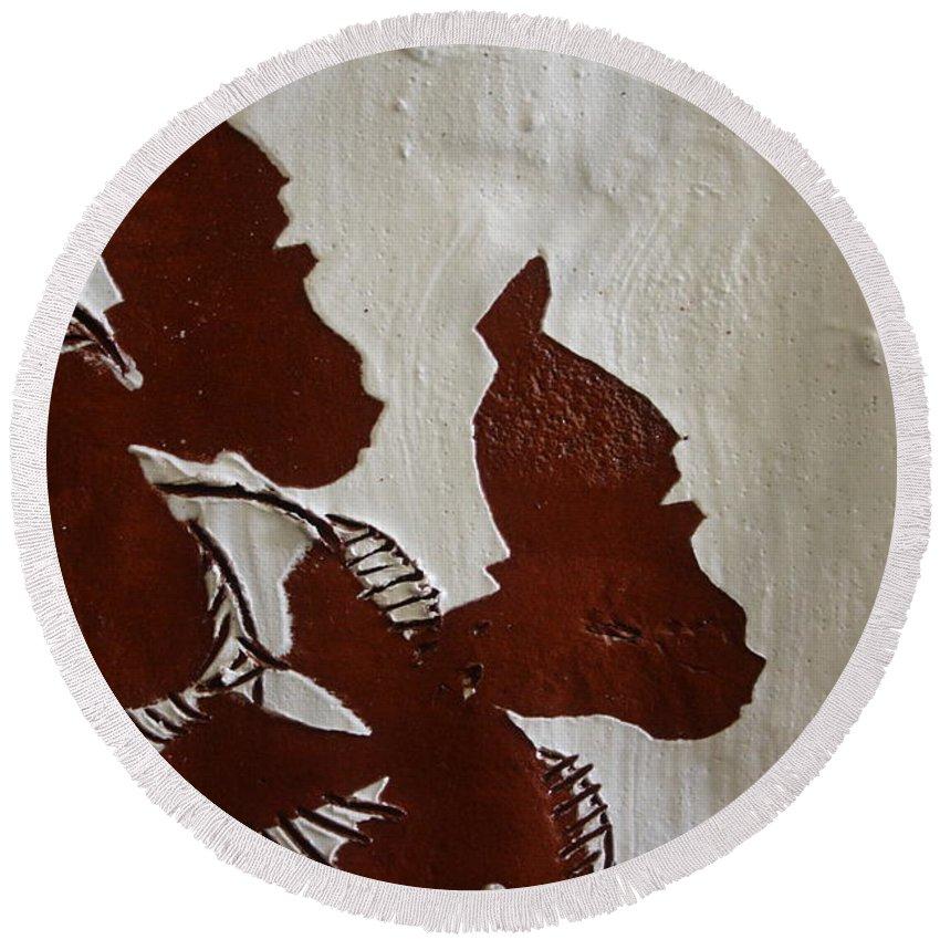 Jesus Round Beach Towel featuring the ceramic art Nakato And Babirye - Twins 2 - Tile by Gloria Ssali
