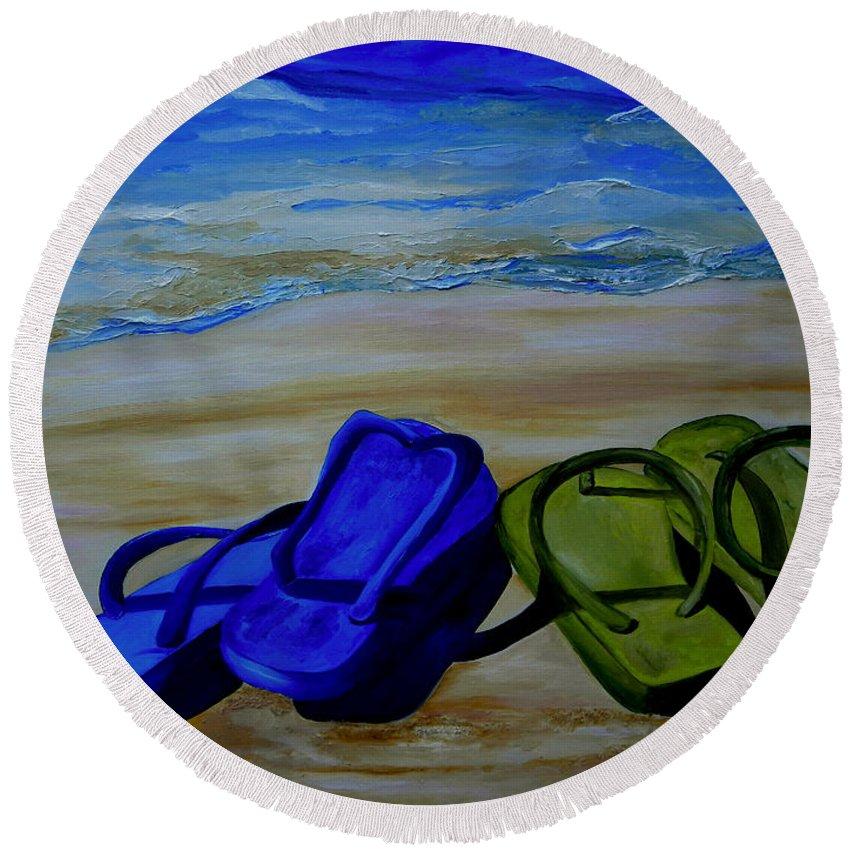Flip Flops Round Beach Towel featuring the painting Naked Feet On The Beach by Patti Schermerhorn