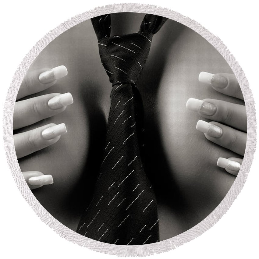 Woman Round Beach Towel featuring the photograph Naked Sexy Woman Wearing A Tie by Maxim Images Prints
