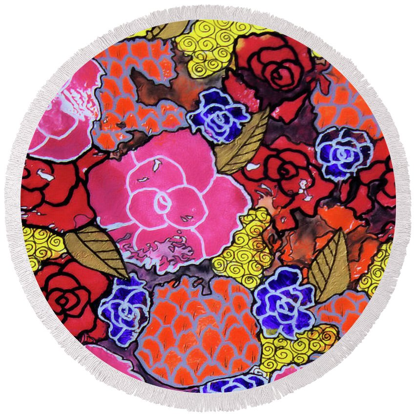 Floral Round Beach Towel featuring the painting Nala's Flowers by Sarena Mantz