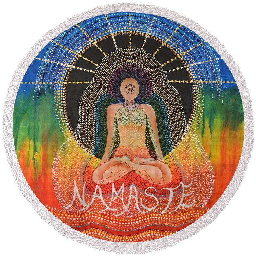 Namaste Round Beach Towel featuring the painting Namaste' by Deborha Kerr