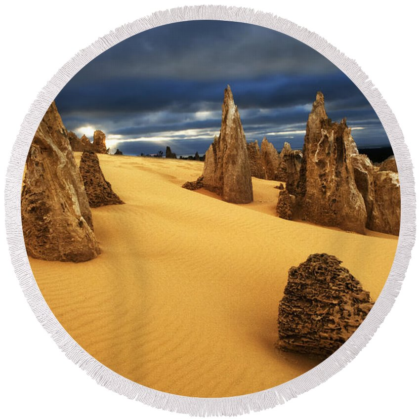 Nambung Round Beach Towel featuring the photograph Nambung Desert Australia 4 by Bob Christopher