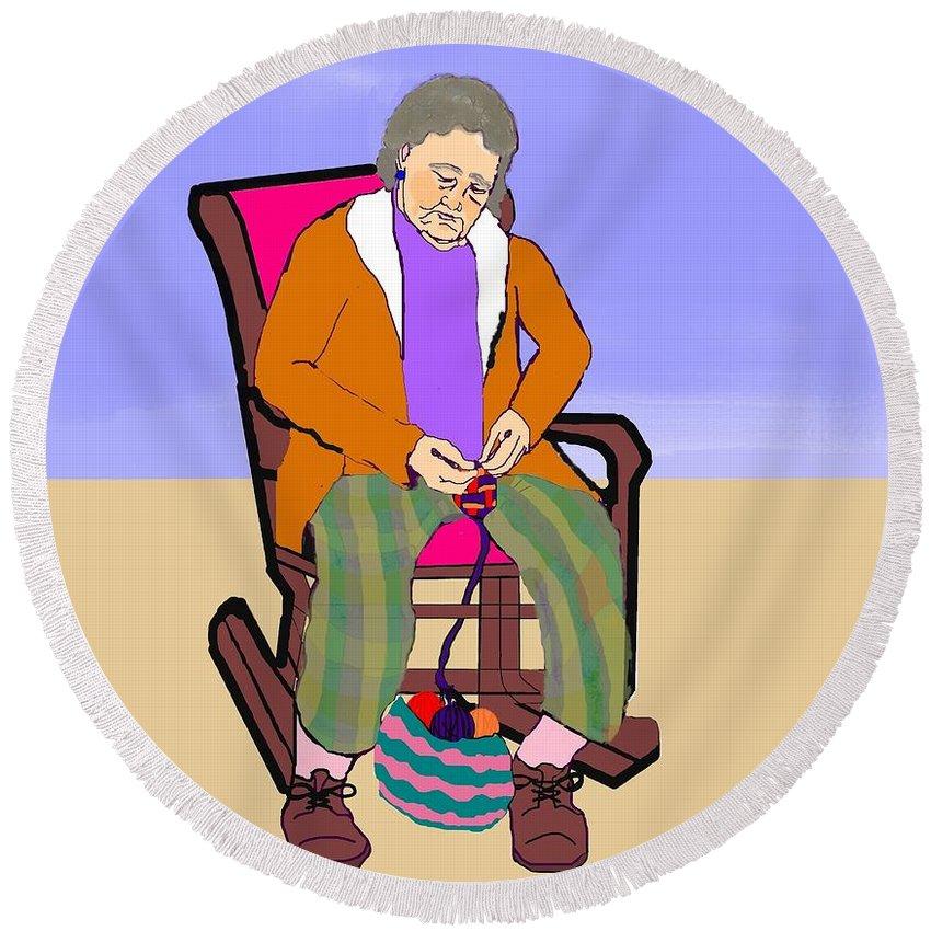 Grandmother Round Beach Towel featuring the digital art Nana Knitting by Pharris Art