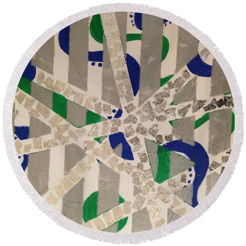 Stripes Round Beach Towel featuring the mixed media Foil by Cynthia Williams