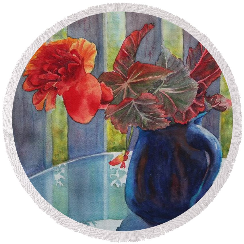 Blue Jug Round Beach Towel featuring the painting Nancy's Begonias by Ruth Kamenev