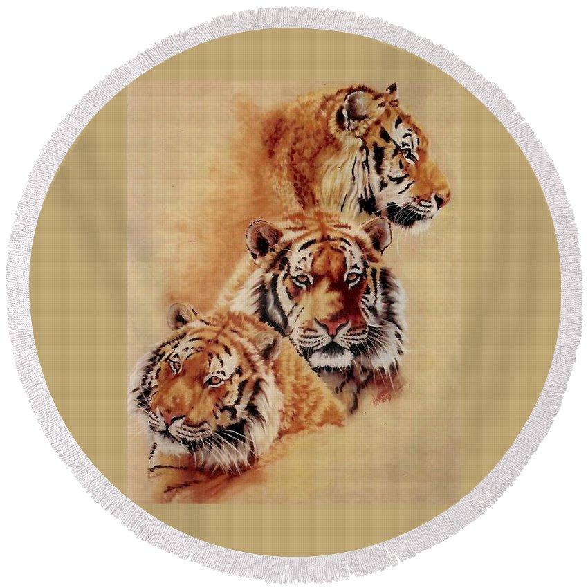 Tiger Round Beach Towel featuring the pastel Nanook Threefold by Barbara Keith