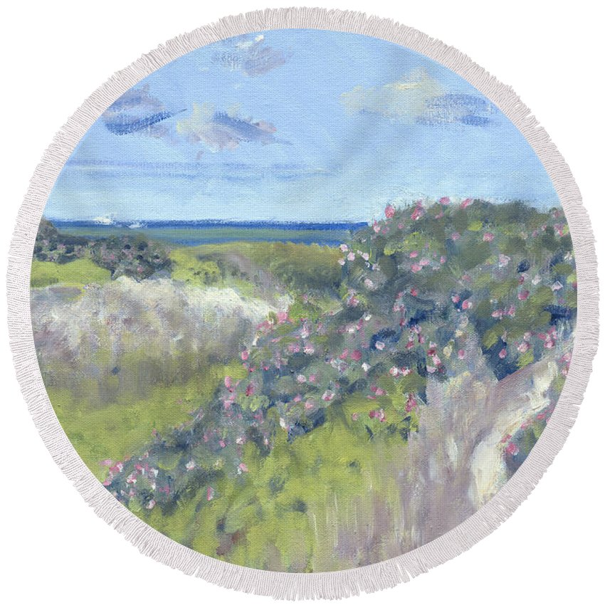 Nantucket Round Beach Towel featuring the painting Nantucket June Dunes I by Candace Lovely