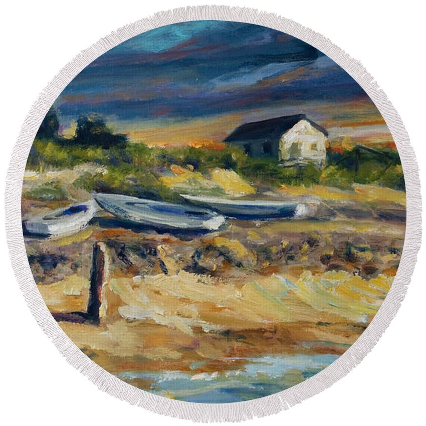 Stormy Clouds Round Beach Towel featuring the painting Nantucket by Rick Nederlof