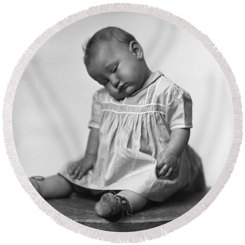 Baby Round Beach Towel featuring the photograph Nap Time Is Now by Seely Studio
