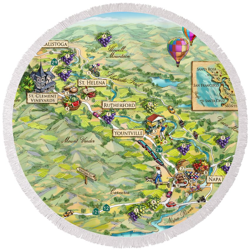 Napa Valley Round Beach Towel featuring the painting Napa Valley Illustrated Map by Maria Rabinky