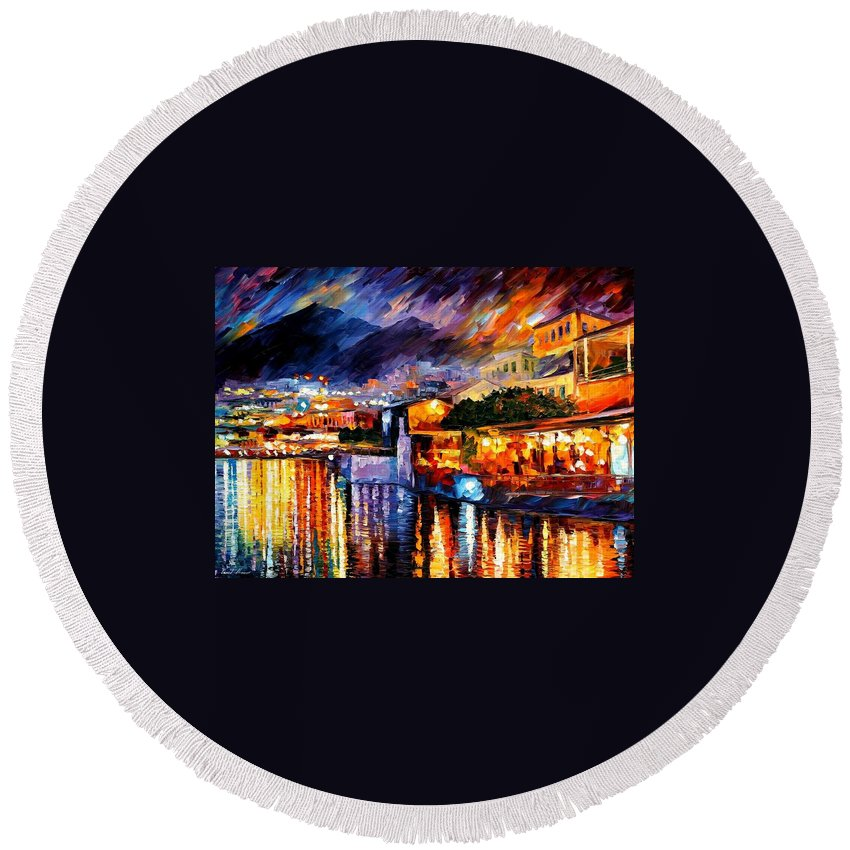 Afremov Round Beach Towel featuring the painting Naples - Vesuvius by Leonid Afremov