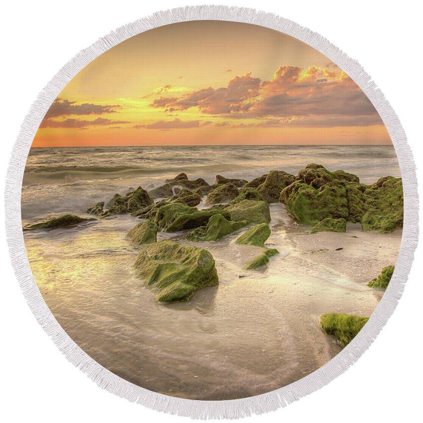Naples Fl Round Beach Towel featuring the photograph Naples Sunset by Dennis Goodman