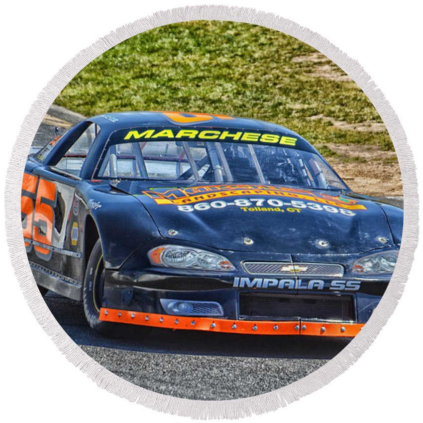 Motorsports Round Beach Towel featuring the photograph Nascar 55 Impala Ss by Mike Martin