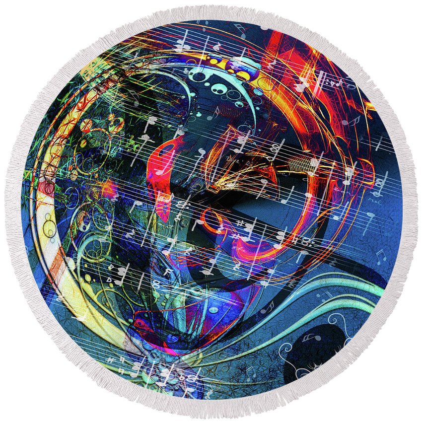 Abstract Round Beach Towel featuring the digital art Nashville Cats by M M Rainey