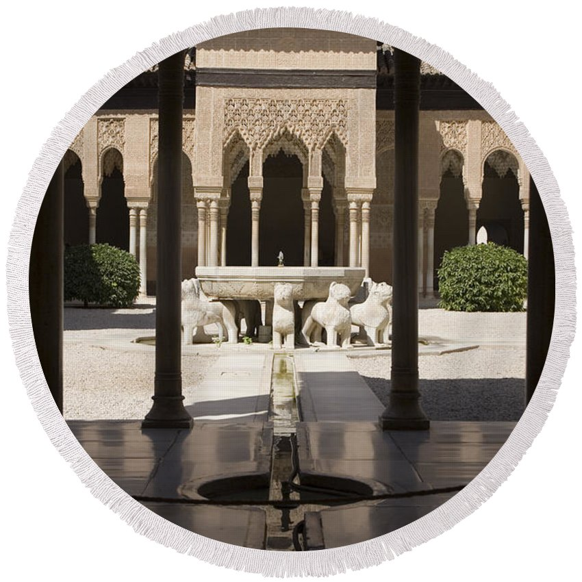 Alhambra Round Beach Towel featuring the photograph Nasrid Palaces Alhambra Granada Spain Europe by Mal Bray
