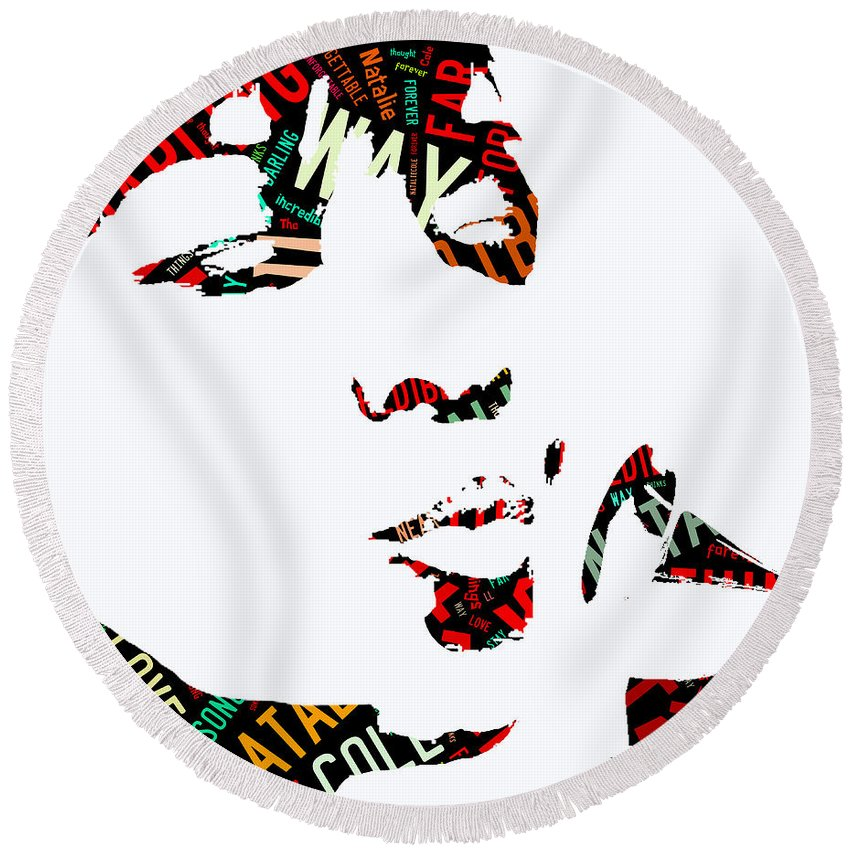 Natalie Cole Round Beach Towel featuring the mixed media Natalie Cole Unforgettable Song Lyrics by Marvin Blaine