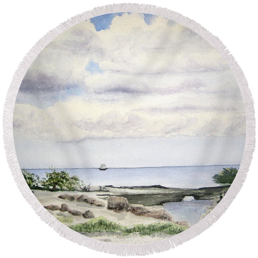 Natalie Round Beach Towel featuring the painting Natalie's Beach by Julia Rietz