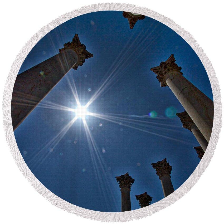 Arboretum Round Beach Towel featuring the photograph National Capitol Columns #2 by Stuart Litoff