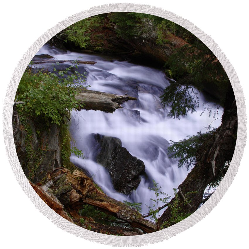 Waterfall Round Beach Towel featuring the photograph National Creek Falls 03 by Peter Piatt