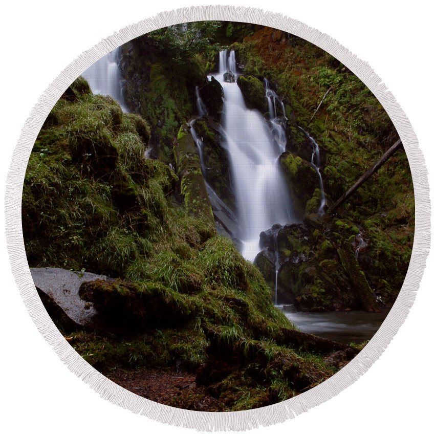 Waterfall Round Beach Towel featuring the photograph National Creek Falls 04 by Peter Piatt