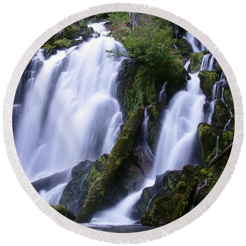 Waterfall Round Beach Towel featuring the photograph National Creek Falls 09 by Peter Piatt