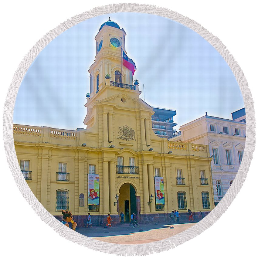 National History Museum On Plaza De Armas In Santiago Round Beach Towel featuring the photograph National History Museum On Plaza De Armas In Santiago-chile by Ruth Hager