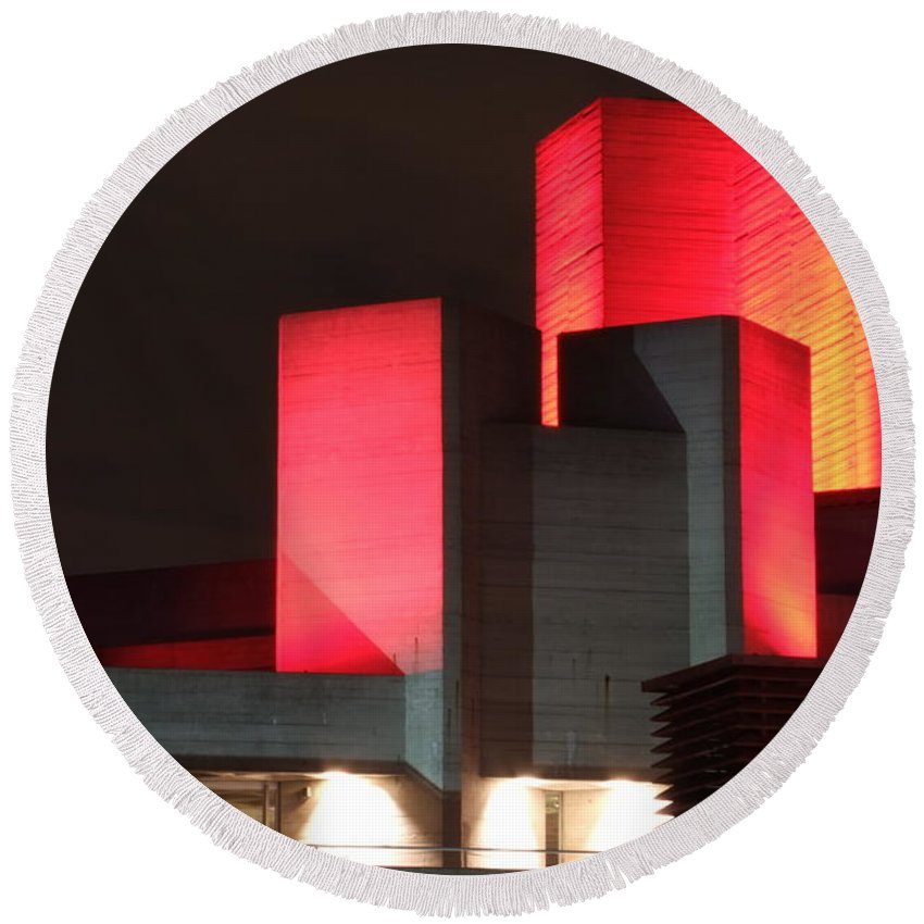 National Theatre Round Beach Towel featuring the photograph National Theatre London by Andrew Ford