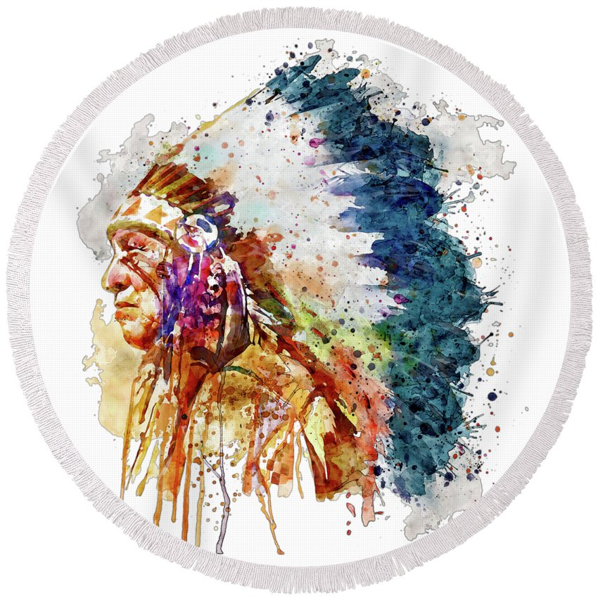 Native American Round Beach Towel featuring the painting Native American Chief Side Face by Marian Voicu