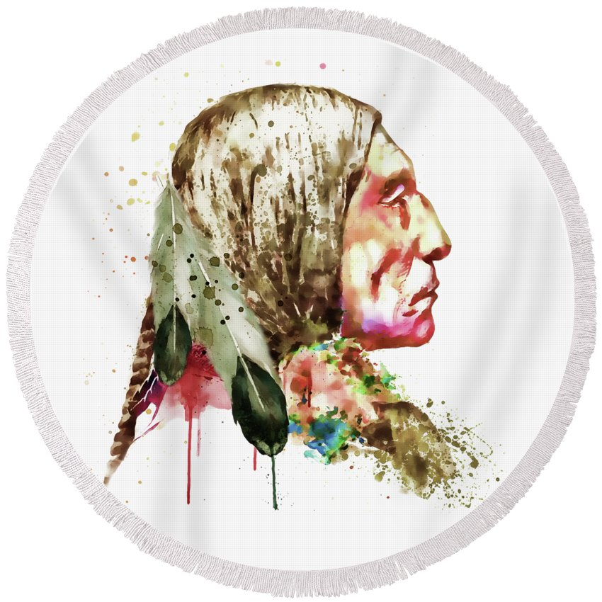 Native American Round Beach Towel featuring the painting Native American Side Face by Marian Voicu