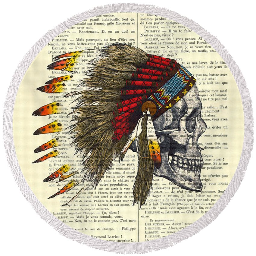 Native American Round Beach Towel featuring the digital art Native American Skull by Madame Memento