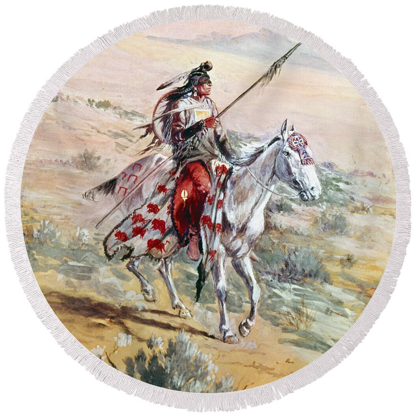 1906 Round Beach Towel featuring the photograph Native American Warrior by Granger