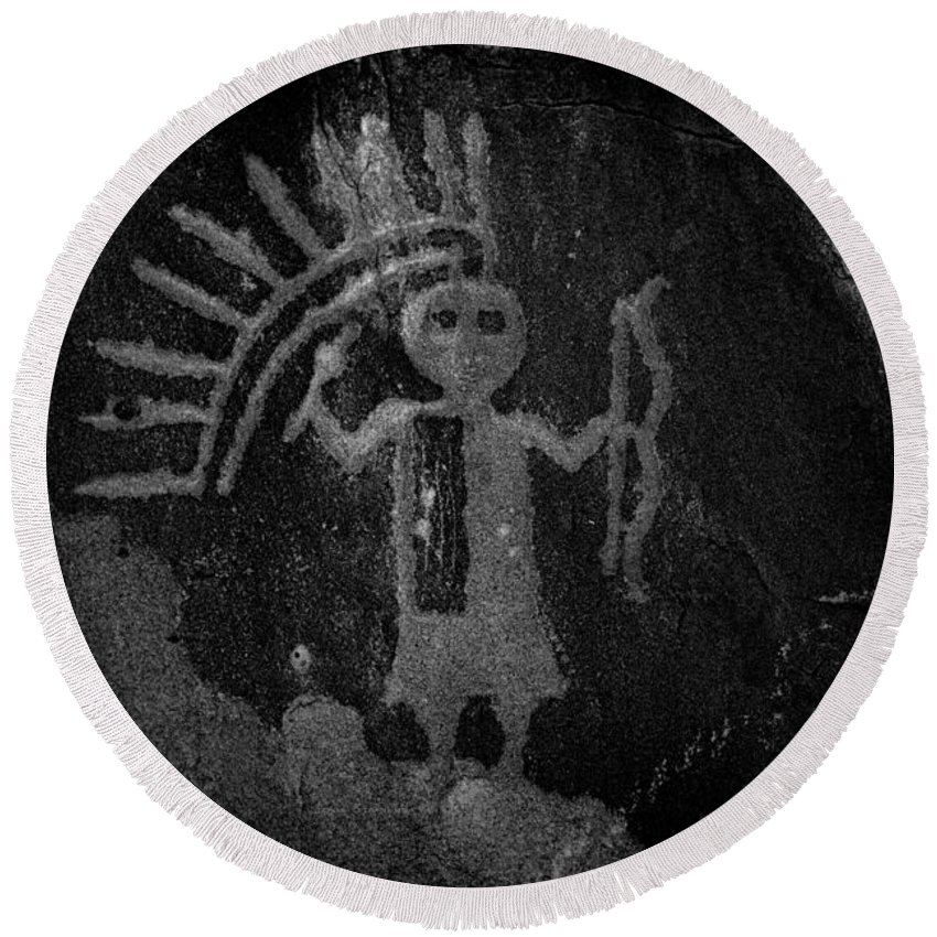 Petroglyphs Round Beach Towel featuring the photograph Native American Warrior Petroglyph On Sandstone by John Stephens