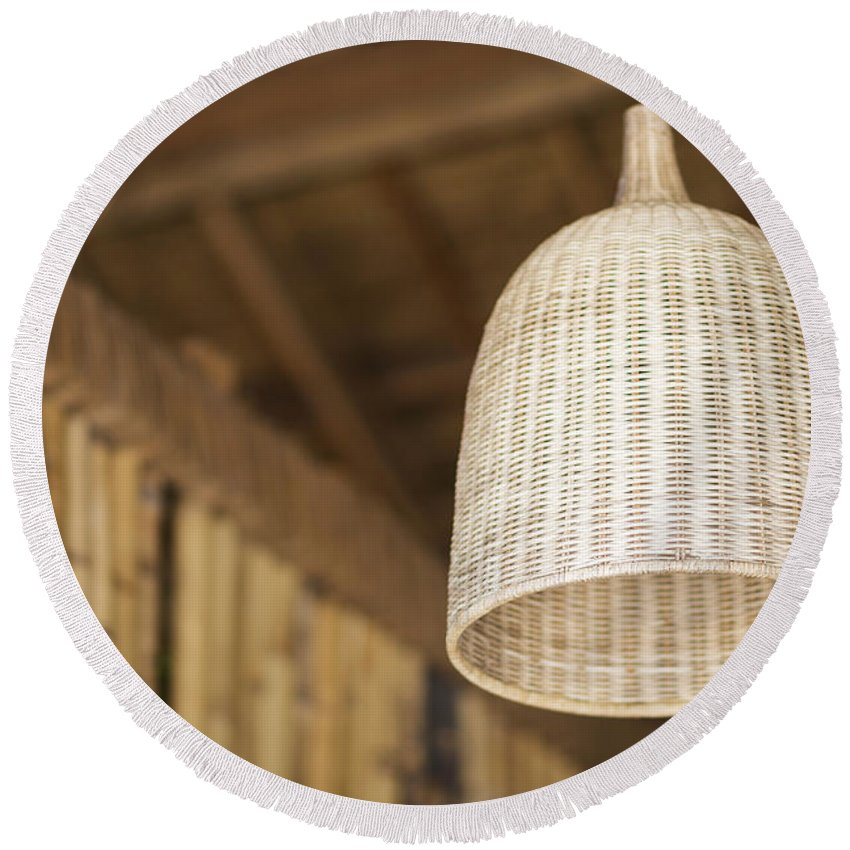 Asia Round Beach Towel featuring the photograph Natural Bamboo Interior Design Lampshade Detail by Jacek Malipan