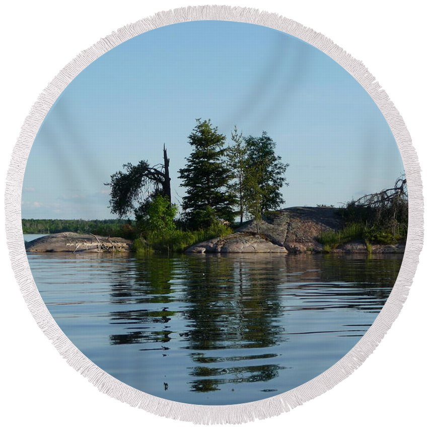 Lake Round Beach Towel featuring the photograph Natural Breakwater by Ruth Kamenev