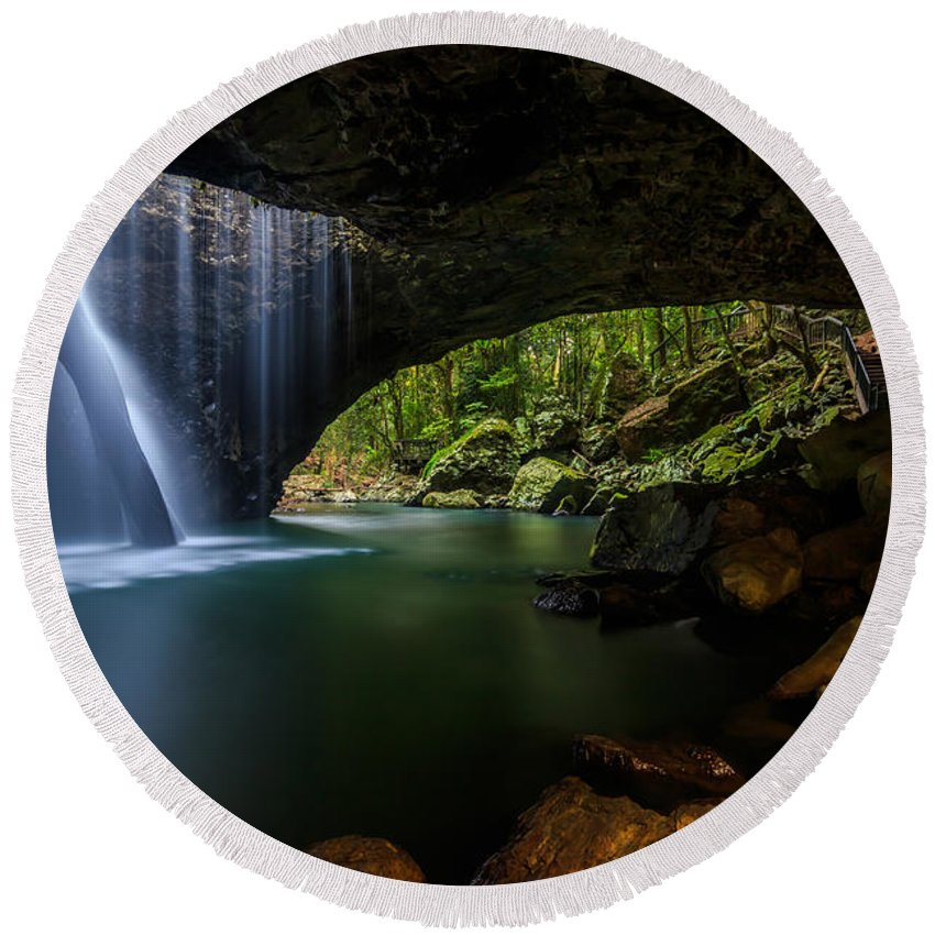 Waterfall Round Beach Towel featuring the photograph Natural Bridge by Sandy Eveleigh
