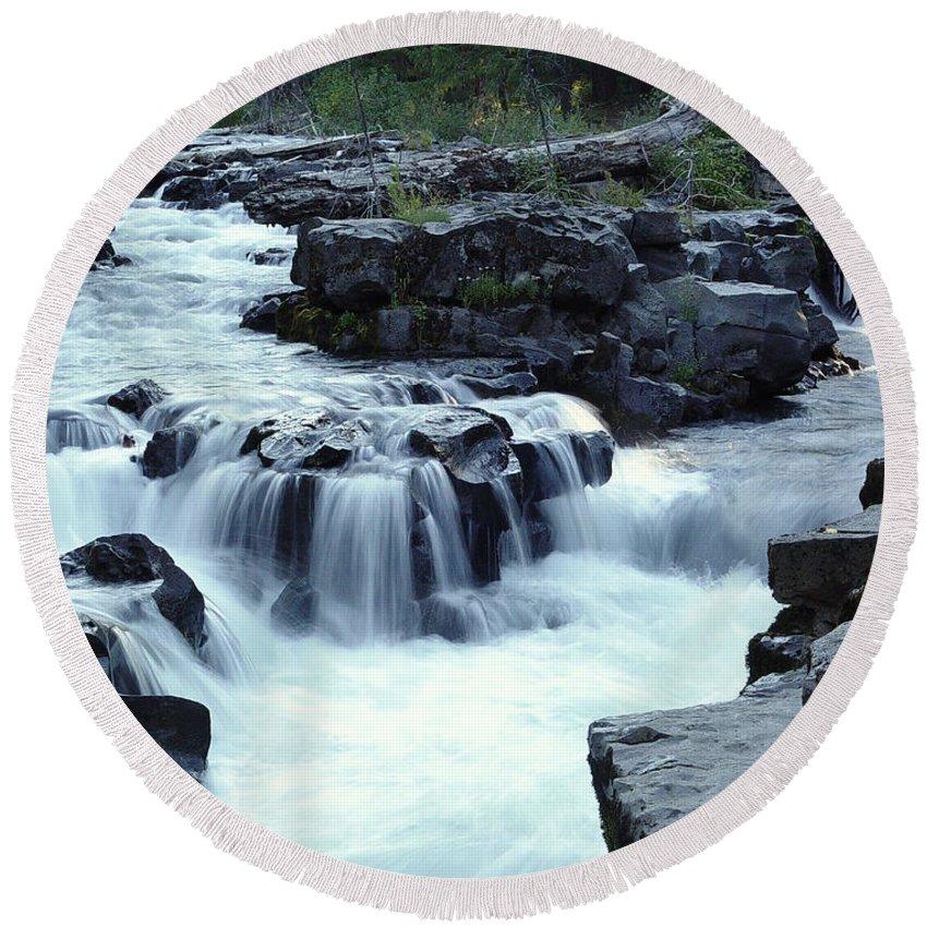 Waterfall Round Beach Towel featuring the photograph Natural Bridges Falls 03 by Peter Piatt