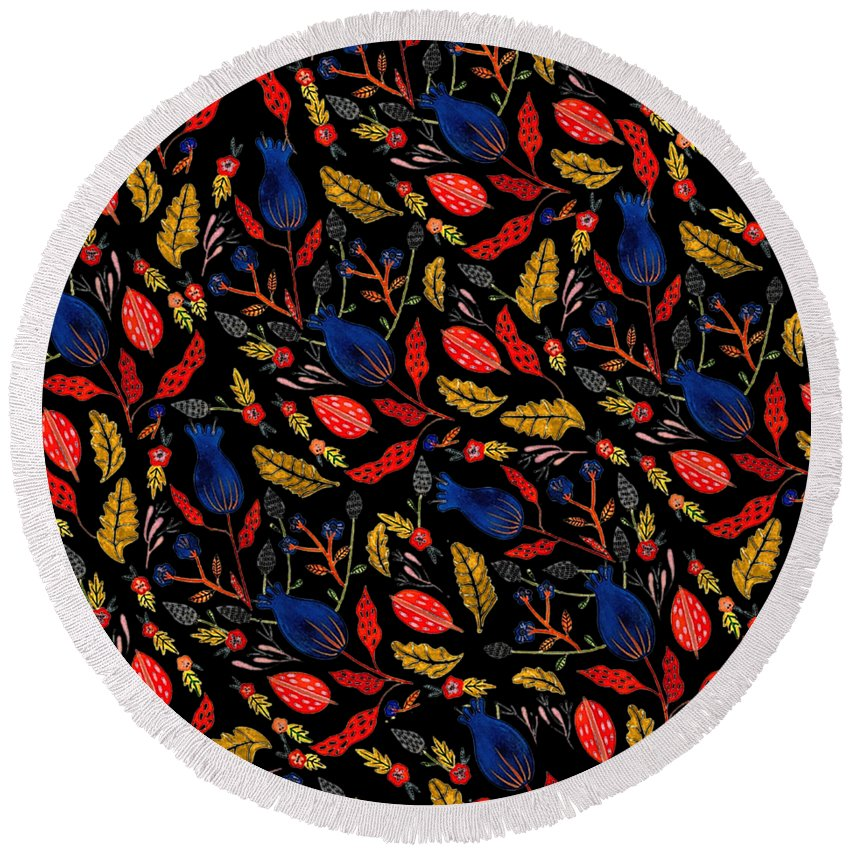 Nature Natural Flowers Floral Floral Pattern Pattern Design Pattern Summer Autumn Colorful Colors Gouache Hand Painted Botanical Round Beach Towel featuring the digital art Natural Floral Pattern by Nini Pakempitan