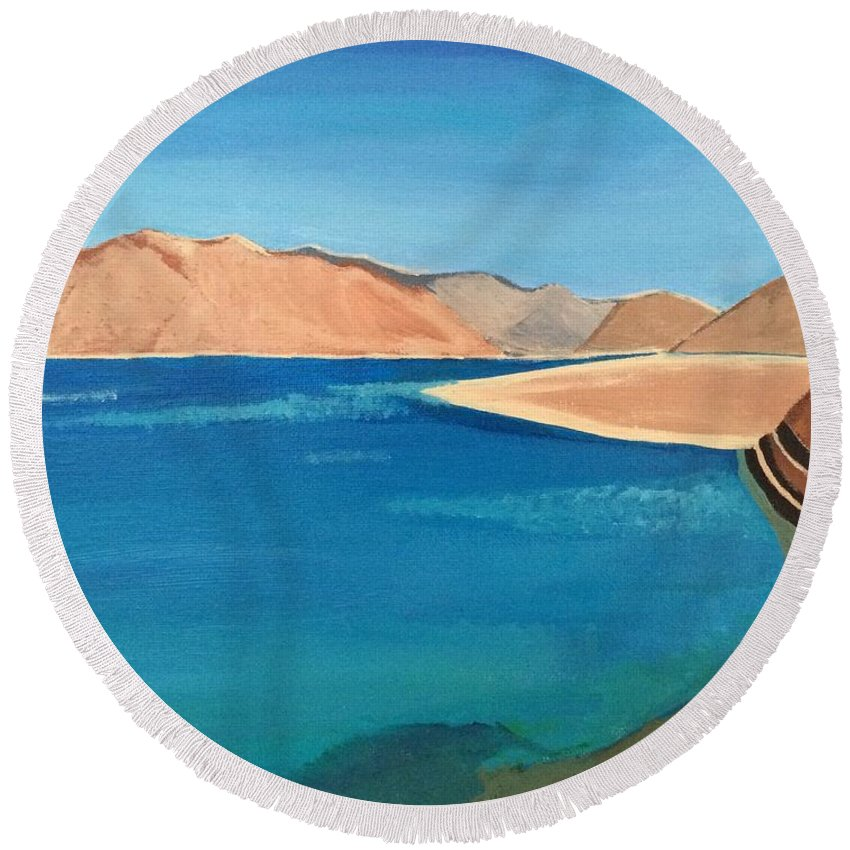 Landscape Round Beach Towel featuring the painting Natural Landscape by Maneet Kaur