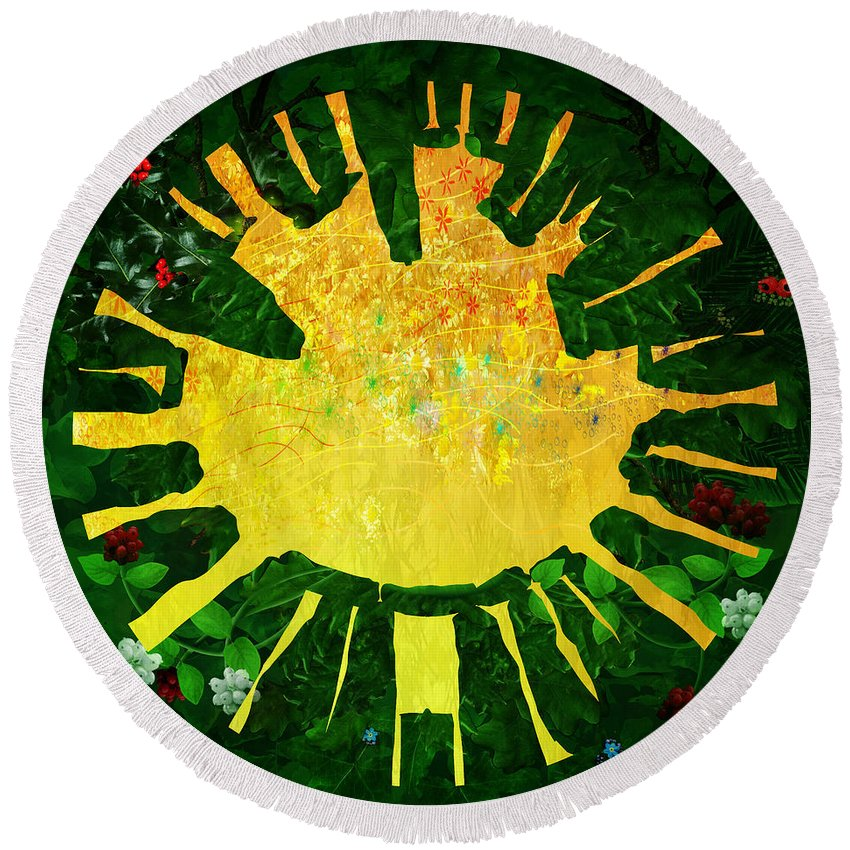 Sun Round Beach Towel featuring the painting Natural Lore by Neil Finnemore