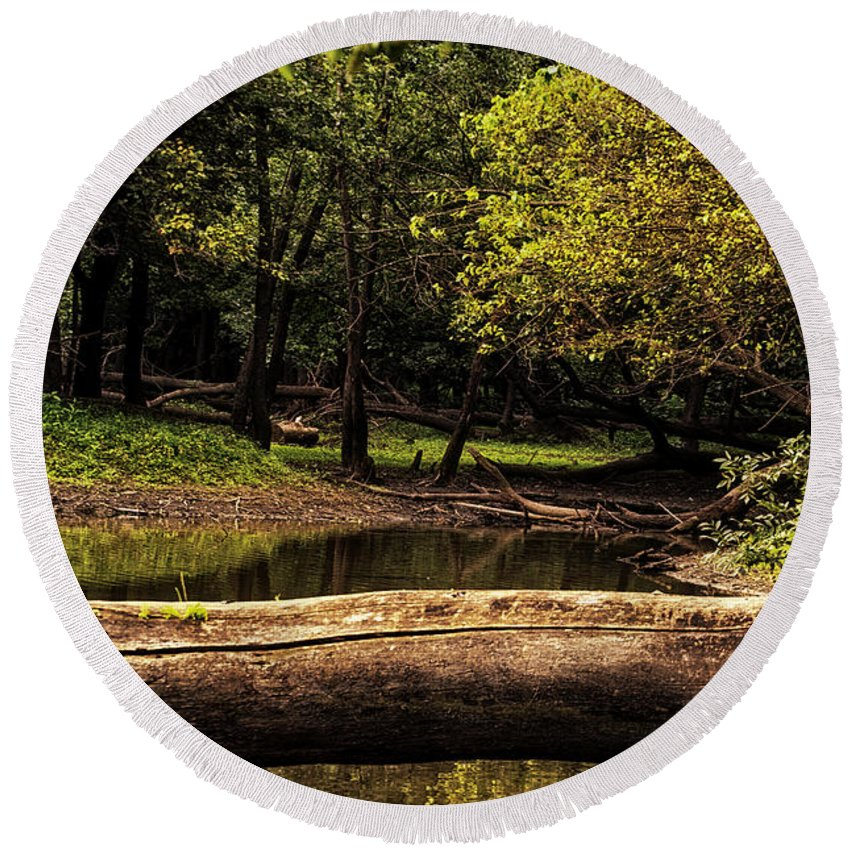 River Round Beach Towel featuring the photograph Natural Seating By River by Thomas Woolworth