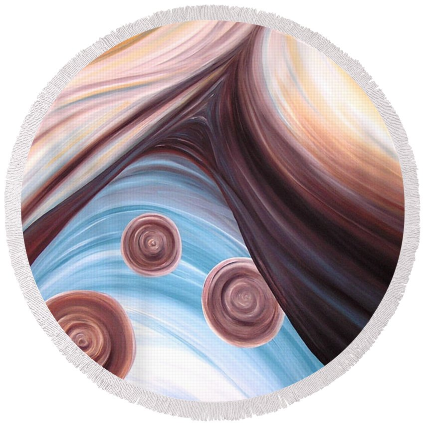Abstract Round Beach Towel featuring the painting Naturally by Melissa Joyfully