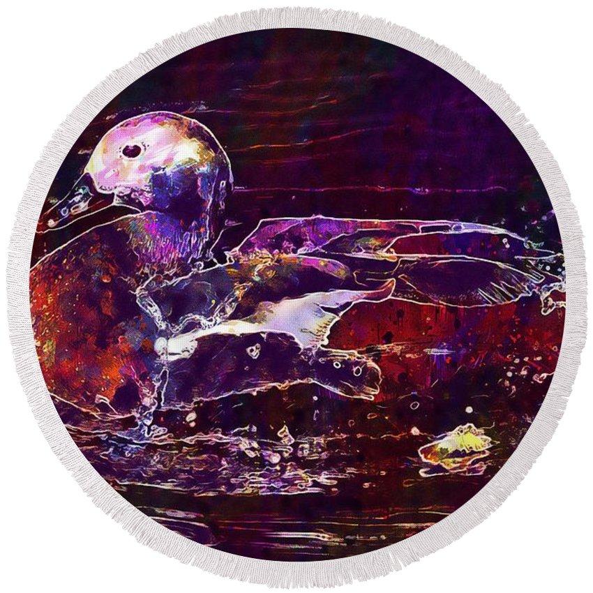 Nature Round Beach Towel featuring the digital art Nature Animals Duck Lake by PixBreak Art