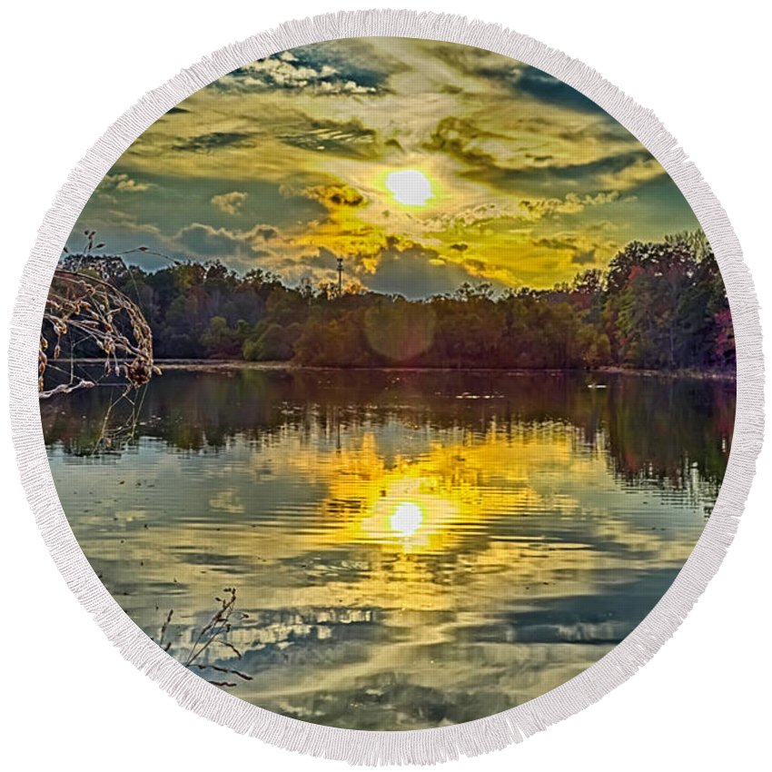 Nature Round Beach Towel featuring the photograph Nature Landscapes Around Lake Wylie South Carolina by Alex Grichenko